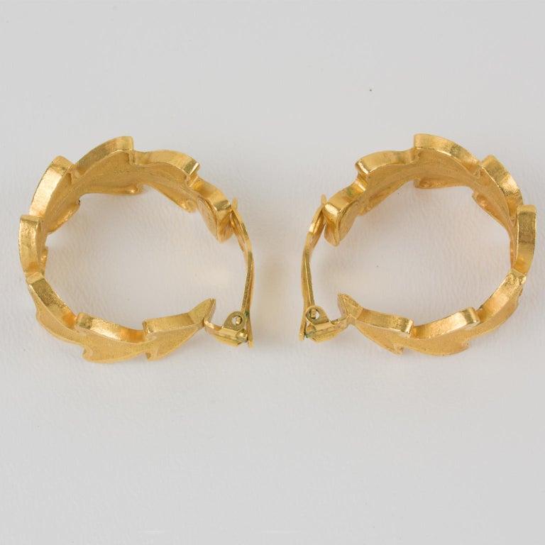 Women's or Men's Lanvin Large Hoop Clip Earrings Gilt Leaves For Sale