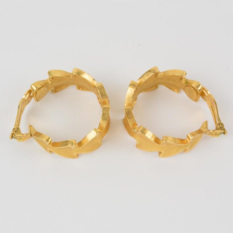 Lanvin Large Hoop Clip Earrings Gilt Leaves For Sale 1