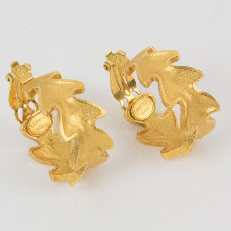 Lanvin Large Hoop Clip Earrings Gilt Leaves For Sale 2