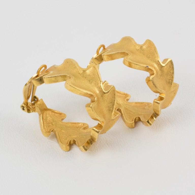 Lanvin Large Hoop Clip Earrings Gilt Leaves For Sale 3