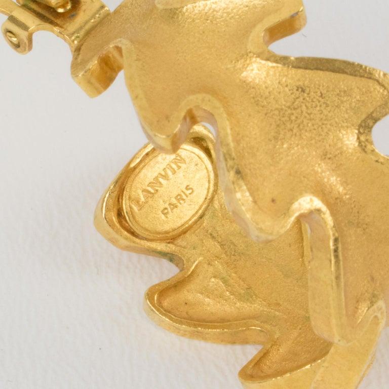 Lanvin Large Hoop Clip Earrings Gilt Leaves For Sale 4