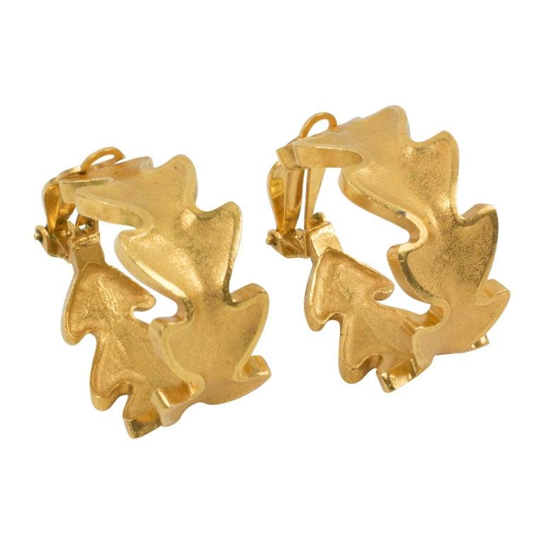 Lanvin Large Hoop Clip Earrings Gilt Leaves For Sale