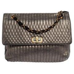 Lanvin Metallic Grey Quilted Leather Happy Shoulder Bag