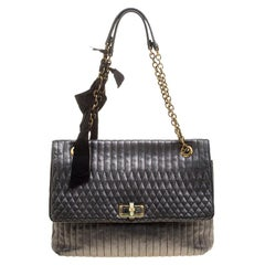 Lanvin Metallic Grey Quilted Leather Happy Shoulder Bag