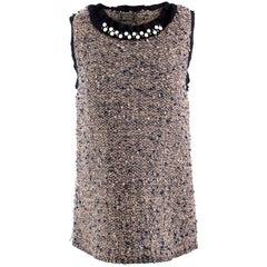 Lanvin Metallic Knit Faux-pearl Collared Sleeveless Top - Size L