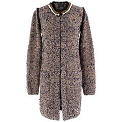 Lanvin Metallic Knit Faux-pearl Collarless Long Jacket - Size XS