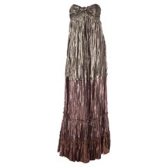 Lanvin Metallic Strapless Dress Gown