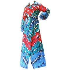 Lanvin Mod 1970s Vibrant Foliage Vine Print Belted Gown