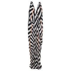 Lanvin Multicolor Chevron Patterned Silk Draped Maxi Dress L