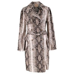 Lanvin Natural Snake Print Lightweight Silk Trench Coat - Size US 6