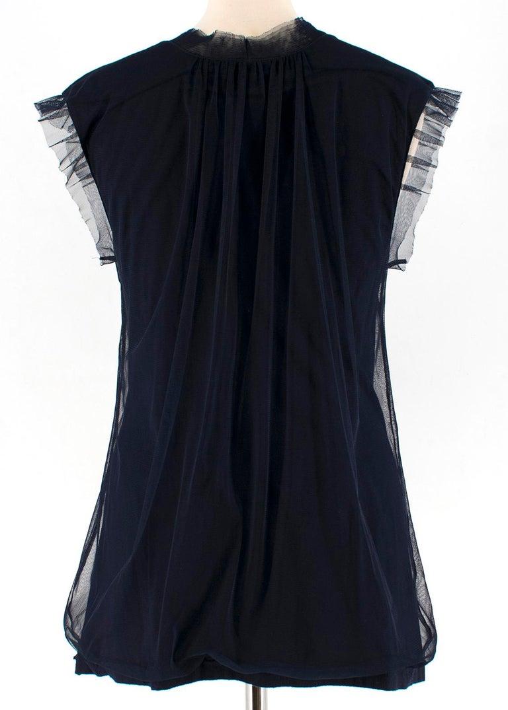 Black Lanvin Navy Cotton Mesh Top L For Sale