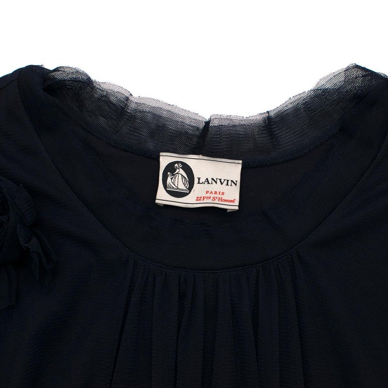 Lanvin Navy Cotton Mesh Top L In Excellent Condition For Sale In London, GB