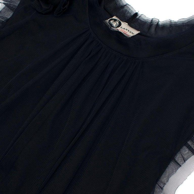 Lanvin Navy Cotton Mesh Top L For Sale 1
