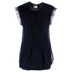 Lanvin Navy Cotton Mesh Top L