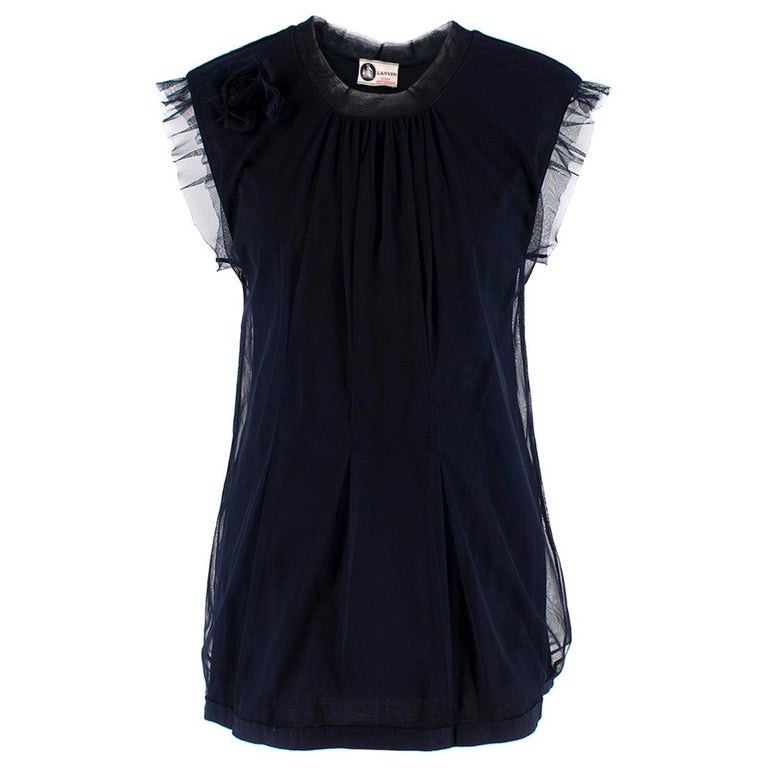 Lanvin Navy Cotton Mesh Top L For Sale