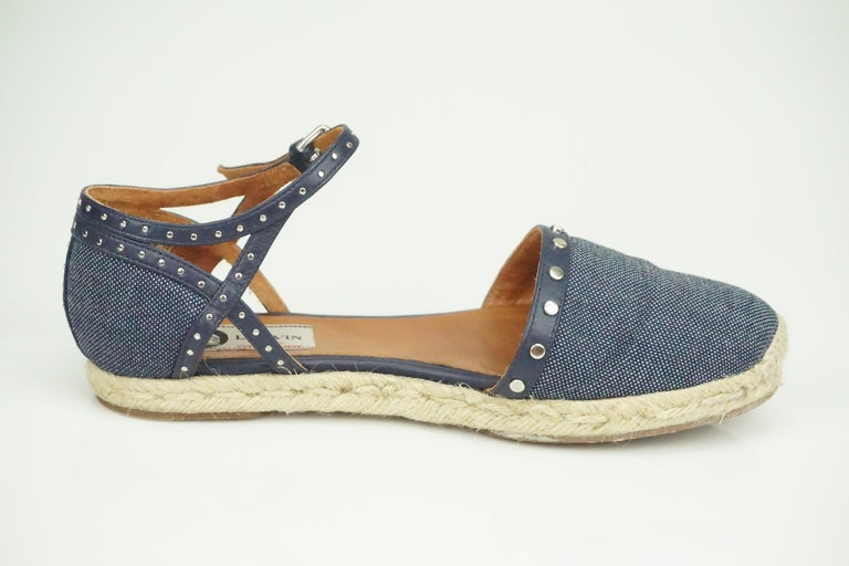 Lanvin Navy Denim/Leather Studded Espadrille Ankle Strap Flats - 7  These beautiful flats are in good condition. There is some wear to them on the bottom and there is some wear on the inside of the shoe. Other than that the shoes look almost brand