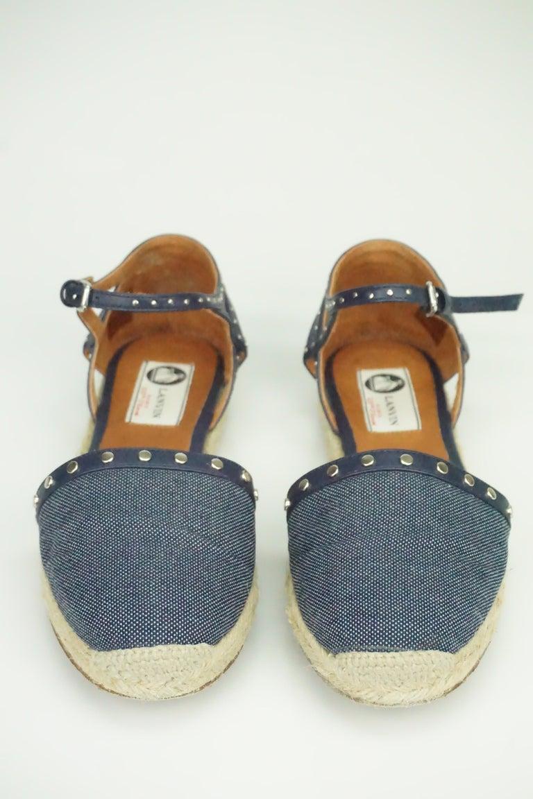 Gray Lanvin Navy Denim/Leather Studded Espadrille Ankle Strap Flats - 7 For Sale