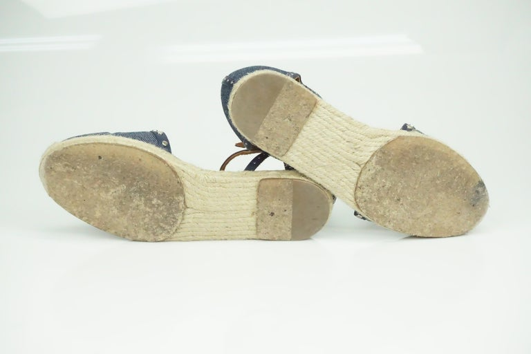 Lanvin Navy Denim/Leather Studded Espadrille Ankle Strap Flats - 7 In Good Condition For Sale In Palm Beach, FL