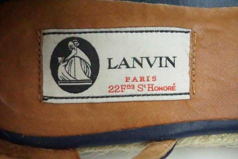 Women's Lanvin Navy Denim/Leather Studded Espadrille Ankle Strap Flats - 7 For Sale