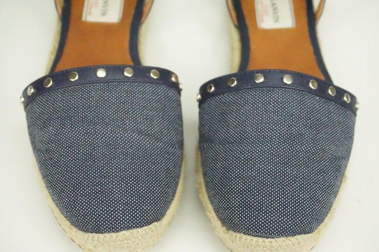 Lanvin Navy Denim/Leather Studded Espadrille Ankle Strap Flats - 7 For Sale 1