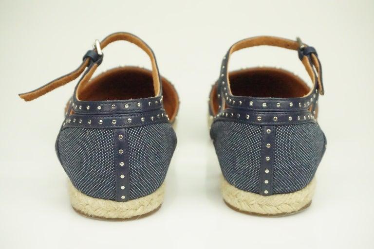 Lanvin Navy Denim/Leather Studded Espadrille Ankle Strap Flats - 7 For Sale 2