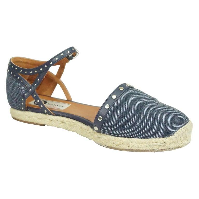 Lanvin Navy Denim/Leather Studded Espadrille Ankle Strap Flats - 7 For Sale
