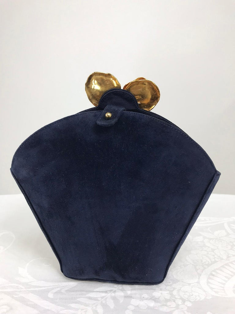 Lanvin Navy Suede Flower Pot Evening Bag Rare In Good Condition For Sale In West Palm Beach, FL