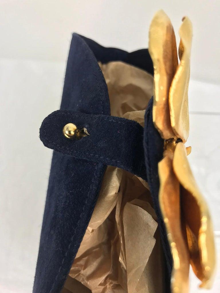Lanvin Navy Suede Flower Pot Evening Bag Rare For Sale 3