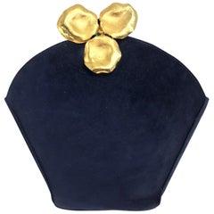 Lanvin Navy Suede Flower Pot Evening Bag Rare