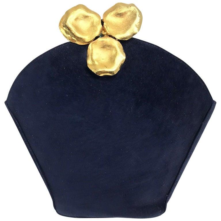 Lanvin Navy Suede Flower Pot Evening Bag Rare For Sale