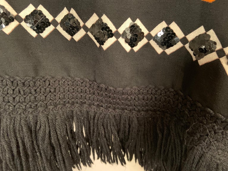 Women's Lanvin Night and Day Half Beaded and Half Plain Wool Challis Shawl circa 1970 For Sale