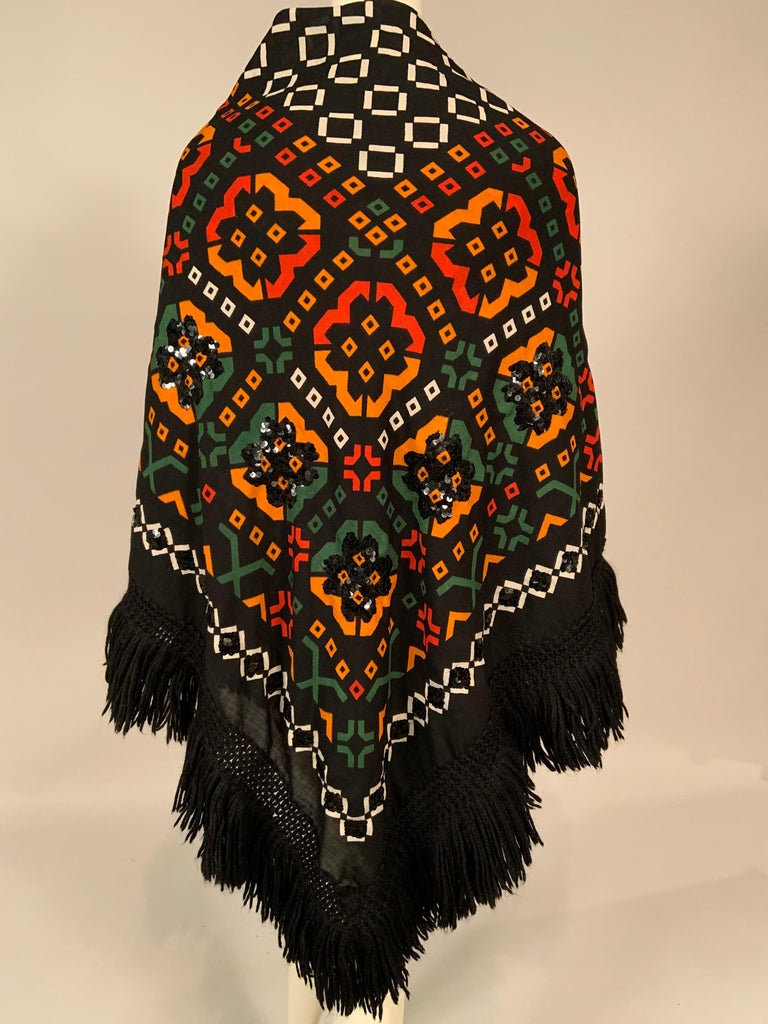 Lanvin Night and Day Half Beaded and Half Plain Wool Challis Shawl circa 1970 For Sale 4