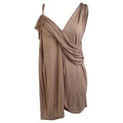 Lanvin Nude Viscose Draped Asymmetric Sleeveless Top Size XS