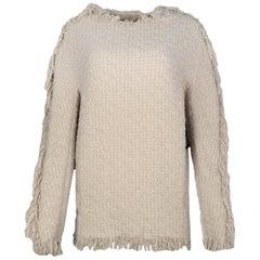 Lanvin NWT Beige Tweed Sweater w/ Fringe Trim sz 40 rt $2,000
