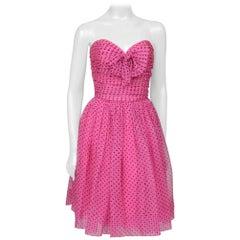 Lanvin Off Shoulder Dotted Dress