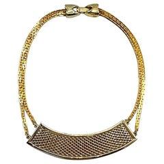 Lanvin Paris 1980s Gold Basket Weave Necklace