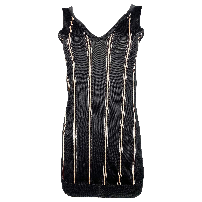 Lanvin Paris Black and White Striped Knit Sleeveles Top