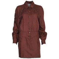 Lanvin Paris Brown Wool Shirt dress