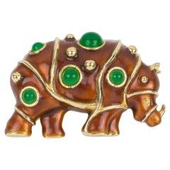 Lanvin Paris Gilt Metal and Enamel Jeweled Rhino Pin Brooch