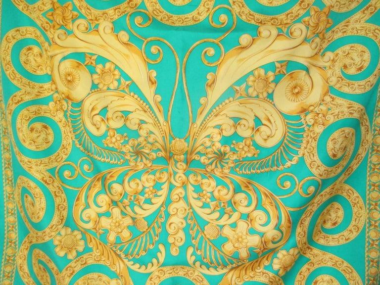 Women's or Men's Lanvin Paris Green Gold Silk Scarf For Sale