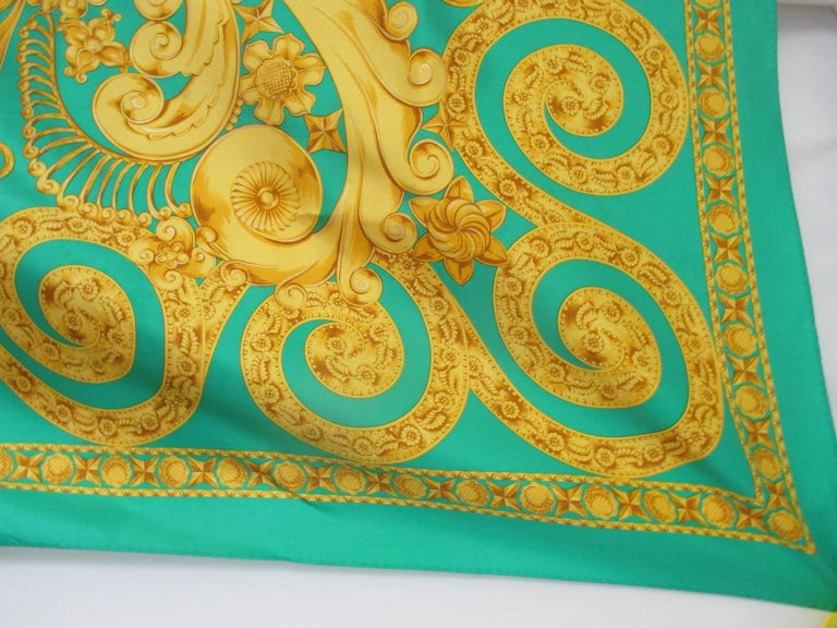 Lanvin Paris Green Gold Silk Scarf For Sale 1