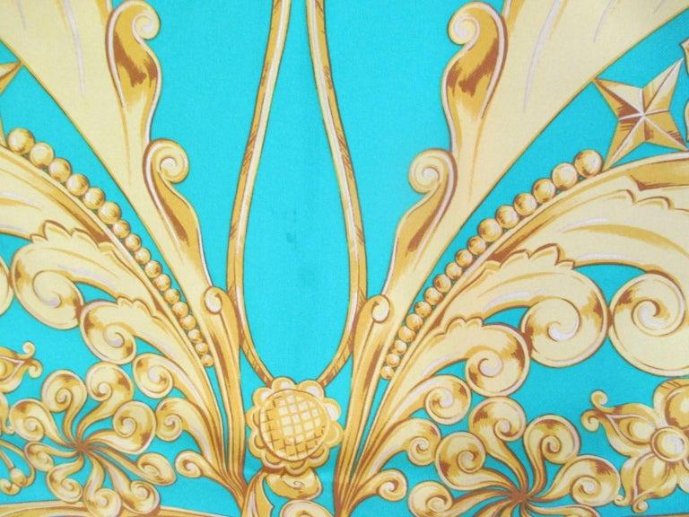 Lanvin Paris Green Gold Silk Scarf For Sale 2