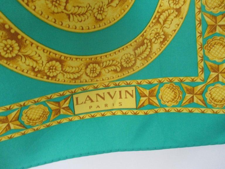 Lanvin Paris Green Gold Silk Scarf For Sale 3