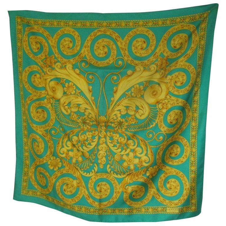 Lanvin Paris Green Gold Silk Scarf For Sale