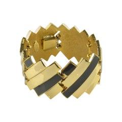 Lanvin Paris Link Bracelet Gilt Metal and Gray Enamel