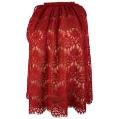 Lanvin Paris Red Lace Top, Size 38