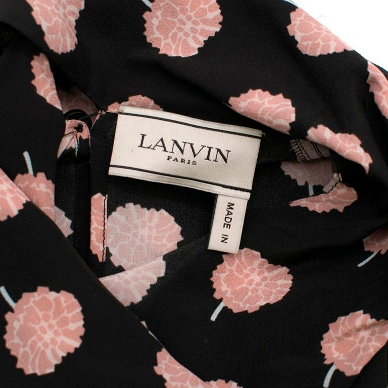Women's Lanvin Peony-Print Silk Shirt US 6 For Sale