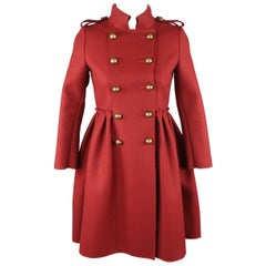 LANVIN Petite Burgundy Wool Blend Double Breasted Military Skirt Coat