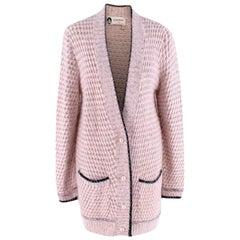 Lanvin Pink Angora Blend Knit Longline Cardigan - Size XS