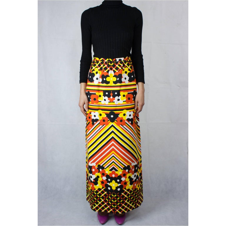 In the 1970s the maxi replaced the mini. Freedom was in the air and prints were a staple. This piqué maxi skirt from Lanvin is an important example of the hippie look that was transformed into chic collections by Western fashion houses. This maxi